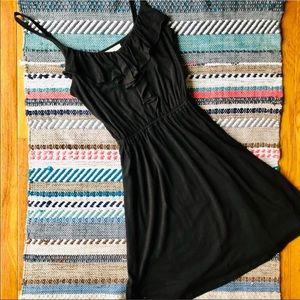 LOFT Black Elastic Waist Ruffle Front Sundress XS